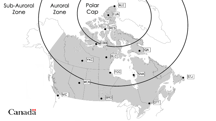 Map showing locaions of the Active canadian magnetic observatories